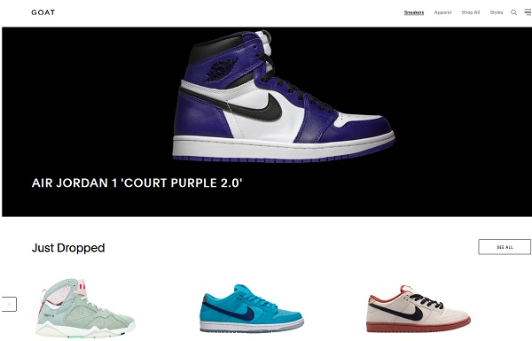 Goat website top page with the image of AIR JORDAN 1 and other sneakers