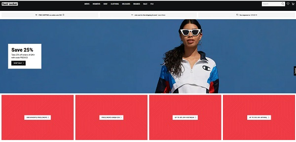 Footlocker online store top page with the image of a female athlete